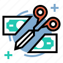 budget, costs, cut, expenses, reduce, reduction icon
