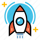 innovation, launch, rocket, science, spaceship, startup icon