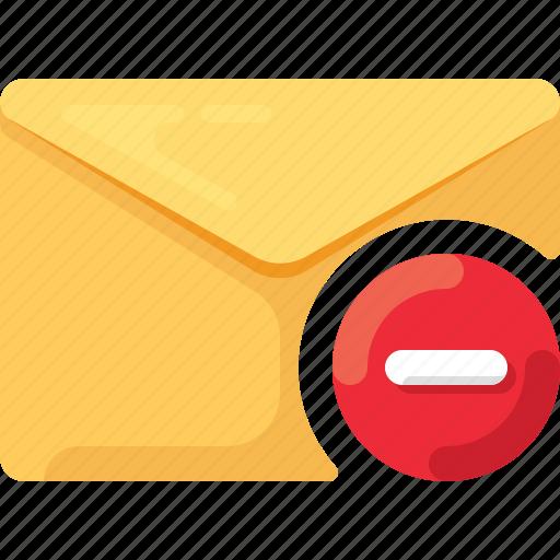 delete, email, envelope, mail, minus icon