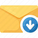 arrow, down, download, email, envelope, mail icon