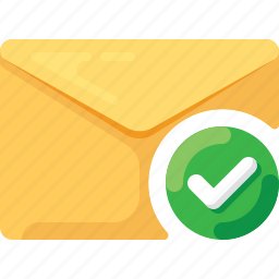 check, done, email, envelope, mail icon