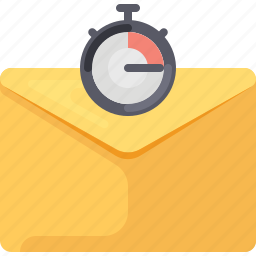 email, envelope, mail, sent, speed, stopwatch, timer icon