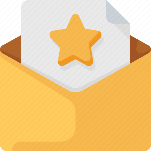 email, envelope, favorite, letter, mail, star icon