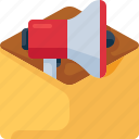 email, envelope, letter, mail, marketing, megaphone, newsletter icon
