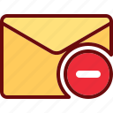 delete, email, envelope, minus, remove icon