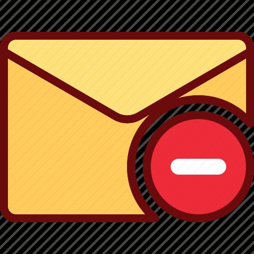 delete, email, envelope, minus, remove icon