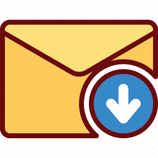 arrow, down, download, email, envelope icon