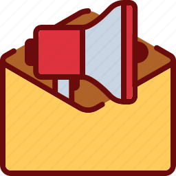 email, envelope, letter, marketing, megaphone, promotion icon
