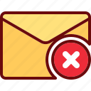 block, cross, delete, email, envelope, mail icon