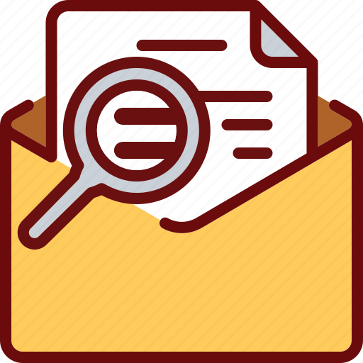 email, envelope, letter, magnifier, mail, search, text icon