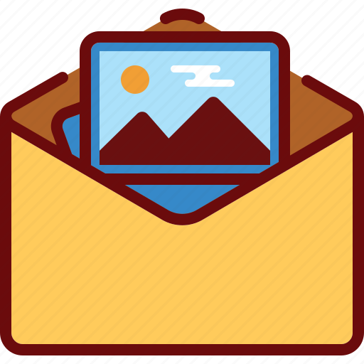 attachment, email, envelope, image, photo icon