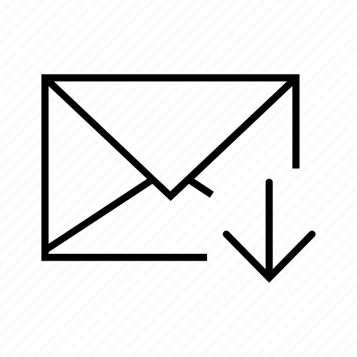 arrow, down, email, envelope, receive icon