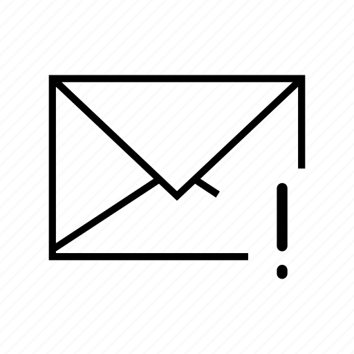 e-mail, email, envelope, exclamation, mark icon