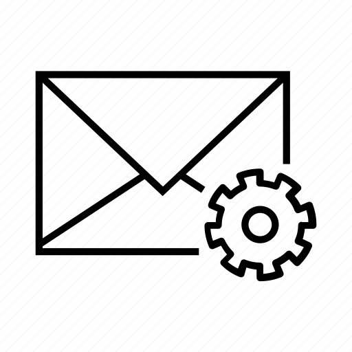 email, envelope, gear, preferences, settings icon
