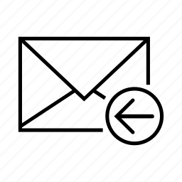arrow, email, envelope, left, receive icon