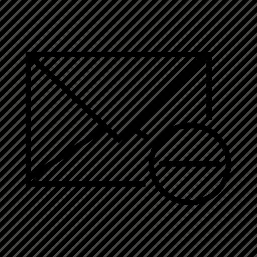 delete, e-mail, email, envelope, minus icon