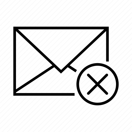 close, delete, delete email, email, envelope icon