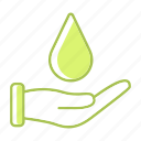 ecology, energy, environment, guardar, hand, save, water icon