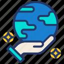 earth on hand, eco, globe, world icon icon