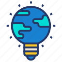 bulb, earth, globe, idea, seo, solution icon