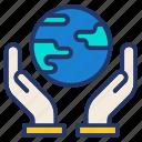 ecology, globe, hand, nature, world icon