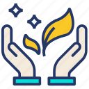 energy, hand, pick, plant, save icon