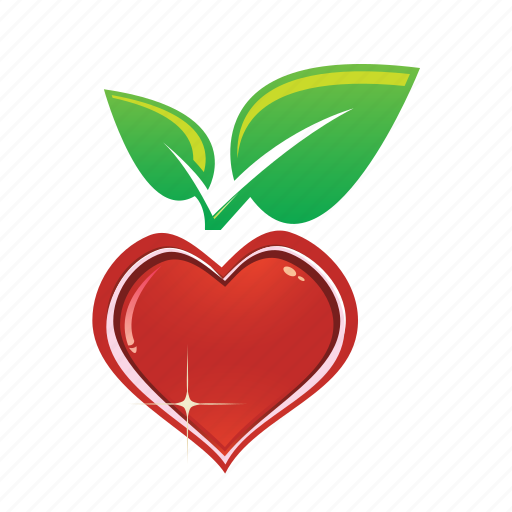 eco, heart, leaf, love, nature icon