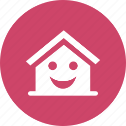 building, emotion, happy, home, house, smile, smiley icon