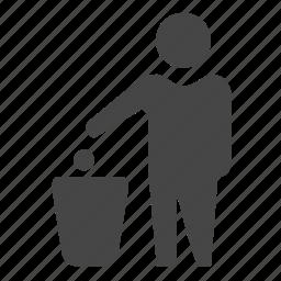 bin, can, man, trash icon
