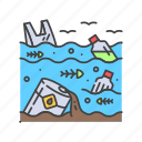 issues, ocean, water, rubbish, environmental, pollution icon