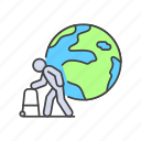 issues, old, environmental, older, ageing, man, population icon