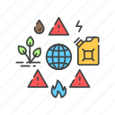 issues, resource, environmental, energy, ecology, shortage icon
