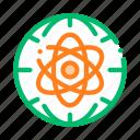 atom, earth, planet, problem icon