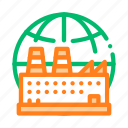 factory, industrial, planet icon