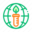 candle, earth, planet, problem icon