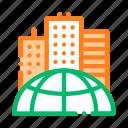 earth, problem, skyscraper icon