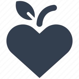 apple, concept, eco, ecology, environment, fruit, heart, leaf icon