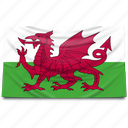 europe, flag, uk, united kingdom, wales icon