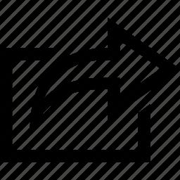 arrow, direction, forward, right, share icon