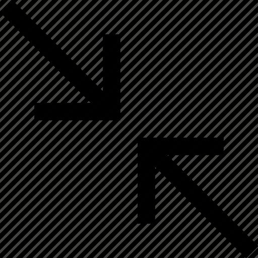 diagonal, minimize, shrink icon