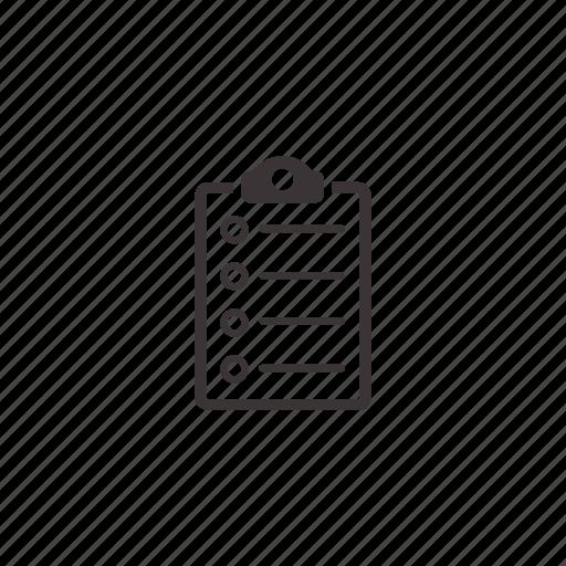 checklist, clipboard, document, list icon
