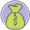 cash, cash bag, coins, money, money bag icon