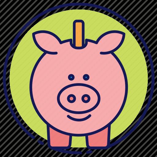 cash, coins, piggy bank, saving account, savings icon