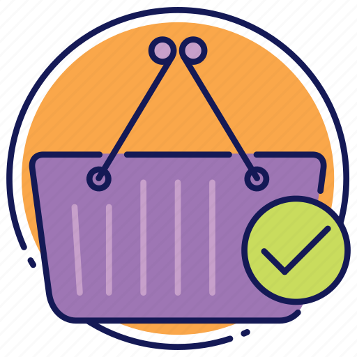 basket, buying finished, cart, shopping, successful order, successful purchase icon