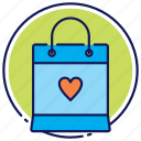 bag, favorite, paper bag, shopping bag icon