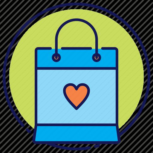 bag, favorite, paper bag, shopping bag icon