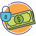 money, safe money, safe transactions, secure transactions, secured money icon