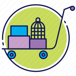 baggage, baggage cart, luggage, luggage cart icon