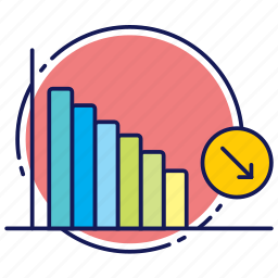 charts, decline, decrease, down, fall, statistics icon