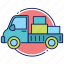 delivery in progress, load, lorry, order, shipping, truck icon